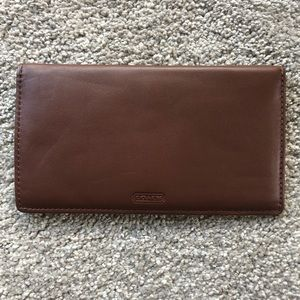 Coach Brown Leather Checkbook Cover